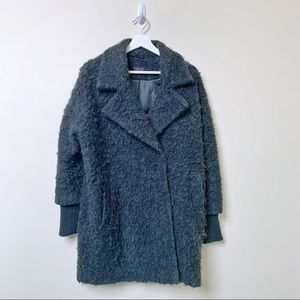Topshop Textured Wool Blend Pea Coat